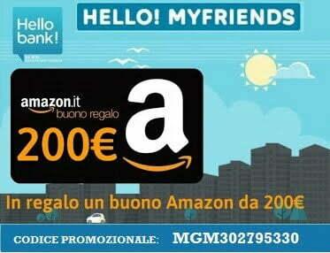 Codice Promozionale Hello Bank! (Buono Amazon 200€ – Luglio 2019)